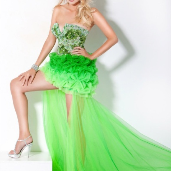 Jovani Dresses & Skirts - Jovani High Low Lime Green Ombre Prom Dress 172201